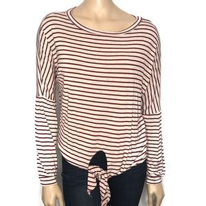 White Birth Size Small Striped Top Front Knot